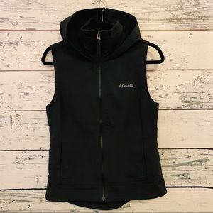 COLUMBIA BLACK FLEECE LINED HOODED VEST SIZE SMALL